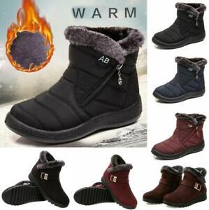 Damen Winter Wasserdicht Schneeschuhe Warm Stiefel Stiefeletten Flache Boots DE