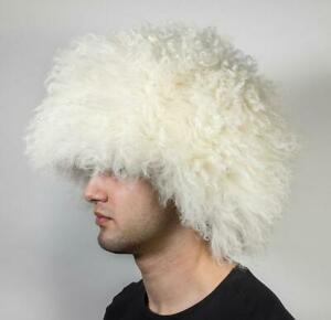 Khabib Nurmagomedov MMA Papakha sheepskin fur caucasus white winter hat Dagestan