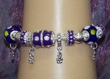 New 925 Sterling Silver Filled and Lilac Enamel Fashion Charm Bracelet