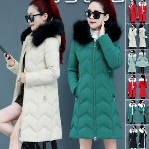 New Winter Slim Women Down Cotton Warm Jacket Big Fur Collar Hooded Coat Parka
