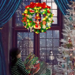 LED Light Christmas Wreath Door Wall Hanging Ornament Garland Party Xmas Decor