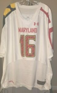 Maryland Terrapins NCAA Under Armour Classic White #16 3XL Jersey