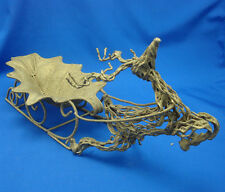 "16½"" grape leaf gold sleigh pulled by twisted metal grapevine reindeer"