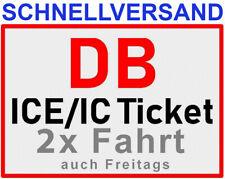 2x DB Deutsche Bahn Freifahrt bundesweit mit ICE IC EC Tickets Fahrkarten Zug.