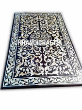 """24"""" x 36"""" Black Marble Dining Table Top River Shell Inlay Art Living Room Decor"""