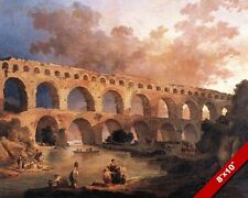 THE ANCIENT ROMAN AQUEDUCT MARVEL OF ARCHITECTURE PAINTING ART REAL CANVAS PRINT