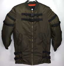 American Stitch Men's LARGE Army Green Flight Bomber Jacket w/ Straps & Buckles