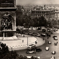 Vintage 1930s RPPC Arc De Triomphe Cars Buses People Paris Postcard France