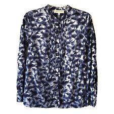 Jones New York Top M Medium Button Down Mandarin Convertible L/S Tie Dye Blue