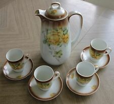German Hot Chocolate Pot 4 Cups Saucers Set Yellow Rose