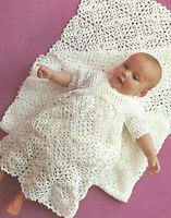 "Baby Christening Dress and Shawl/Blanket 3ply Crochet Pattern 18-19""  508"