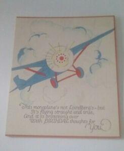 Vintage Birthday Card Monoplane - Lindberg
