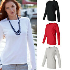 AU Women Long Sleeve Soft Cotton Blend Plain Summer Crew Neck T Shirt Blouse