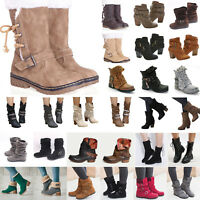 Womens Leather Buckle Mid Calf Flat Boots Winter Warm Casual Riding Biker Shoes