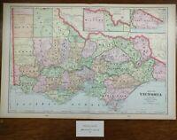 "VICTORIA AUSTRALIA 1902 Vintage Atlas Map 22""x14"" Old Antique GEELONG MELBOURNE"
