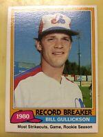1981 Topps Bill Gullickson Baseball Card Rookie #203 Record Breaker High Grade
