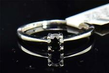 Black Diamond Solitaire Engagement Ring Round Cut Prong Set 10K White Gold