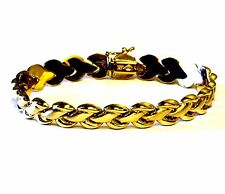 "14K yellow gold fancy link chain hollow bracelet estate 7"" 11.5g womens antique"