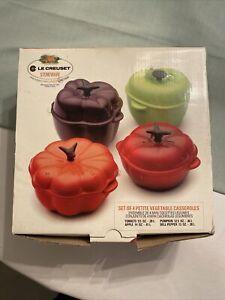Le Creuset Mini Vegetables Cocotte Ramekin Pepper Tomato Pumpkin Set of 4