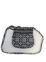 Vera Bradley Women's Black/White Concerto Double Zip Pockets Crossbody