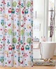 Shower Curtain For Teens Kids Owl Woodland Fabric Colorful Print Girls Bathroom