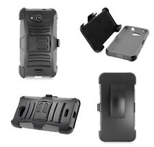 Kyocera Hydro Wave C6740 Holster + Hybrid Phone Case with Stand - Grey/Black