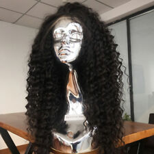 """24"""" 9A #1bPeruvian Remy Deep Curly 250% Density Pre-Plucked Lace Front Wig"""