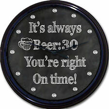 Beer:30 Chalkboard Wall Clock Pub Mug Brew Ale Liquor Alcohol New 10""