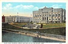 DES MOINES, IA Iowa LIBRARY & POST OFFICE Men Fishing in River  c1920's Postcard