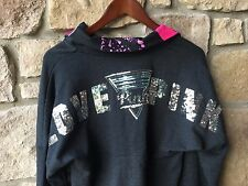 NEW Victoria's Secret PINK Big Sequin Logo Half Zip Pullover Sweatshirt XS