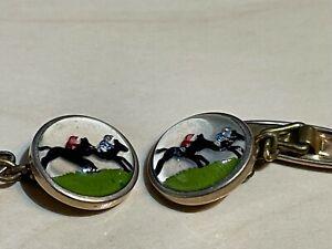 Vintage Horse Racing Cufflinks Marked Gilt Essex Crystal Style