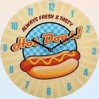 "Glas-Wanduhr Wall Clock Ø ca. 30 cm Uhr mit ansprechendem Motiv: ""Hot Dogs"""