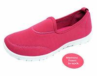 LADIES HOT PINK SLIP-ON MEMORY FOAM COMFORT WALKING TRAINER PUMPS SHOES UK 4