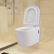 vidaXL Wall Hung Toilet Ceramic White Suspended Soft-close Bathroom Furniture
