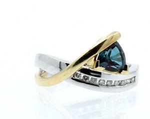 14K MULTI TONE GOLD BLUE TOPAZ DIAMOND FREE FORM LADIES RING SIZE 6.5