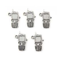 10pcs Mobile Phone Beads Tibetan Silver Charms Pendant DIY Jewelry 20*10mm