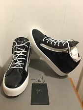 GIUSEPPE ZANOTTI Black Wrinkle London Mid Top Trainers Sneakers UK 7.5