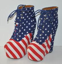 Jeffrey Campbell Damsel Stars & Stripes Platform Wedge Size 7 heels Patriotic