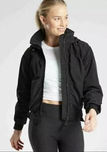 New! Athleta Point Reyes Bomber Jacket Black SIZE Small #405434