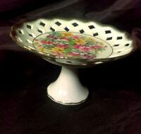Antique Trinket Dish PEDESTAL Compote DIAMOND CUT LACE Edge 8911 FLOWER vtg Bowl