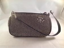 Small Black and White Herringbone handbag removable pin and strap  NWT