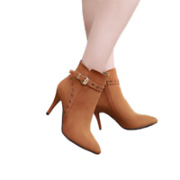 Chic Women's Pointy Toe Ankle Boots Faux Suede Stiletto Heels Side Zip Shoe Pump