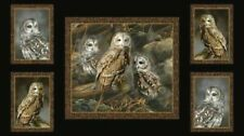 "OWLS  QUILTING TREASURES FABRIC  NOCTURNAL WONDERS  COTTON BLACK HOOT 23"" PANEL"