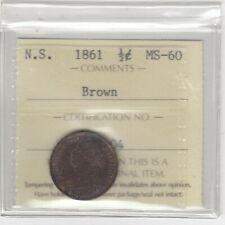 1861 Nova Scotia Half Cent Coin - ICCS MS60 Brown Cert #XFD 604