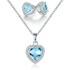 Heart March Birthstone Aquamarine Earrings and Pendant with Crystal Elements
