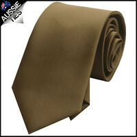 MENS BROWN / COFFEE / CHOCOLATE 8.5CM TIE necktie wedding plain formal