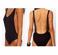 Womens Sleeveless Scoop Neck Dipped Back Black* Backless* Bodysuit Leotard Top