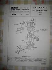 VAUXHALL VICTOR FE & VIVA-Zenith Carburatore-Originale Pezzi Di Ricambio programmare