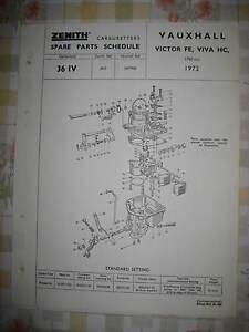 VAUXHALL VICTOR FE & VIVA - ZENITH CARBURETTER - GENUINE SPARE PARTS SCHEDULE
