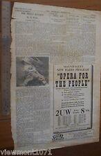 Newspaper advertisement 1946 radio 2UW opera  primary producer recipes stories